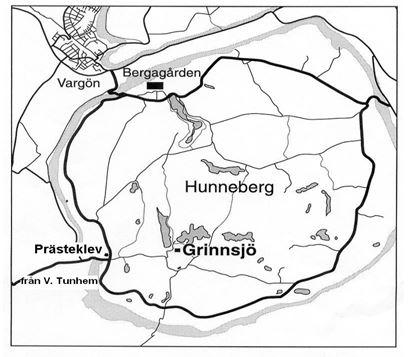 Karta Prästeklev Grinnsjö Hunneberg