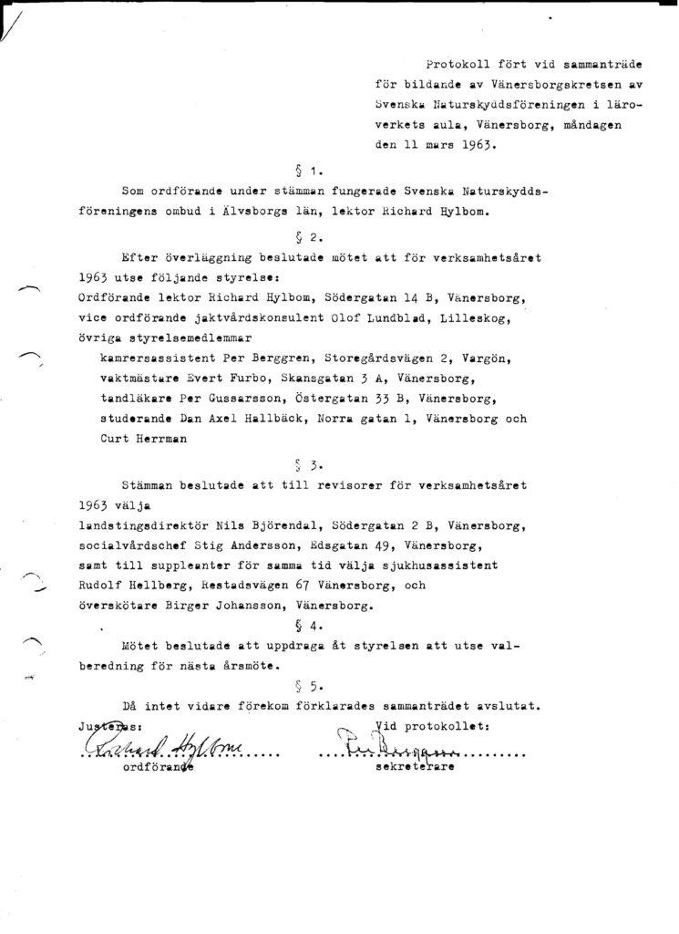 Naturskyddsföreningen_Vänersborg_protokoll_1963_föreningsbildandet