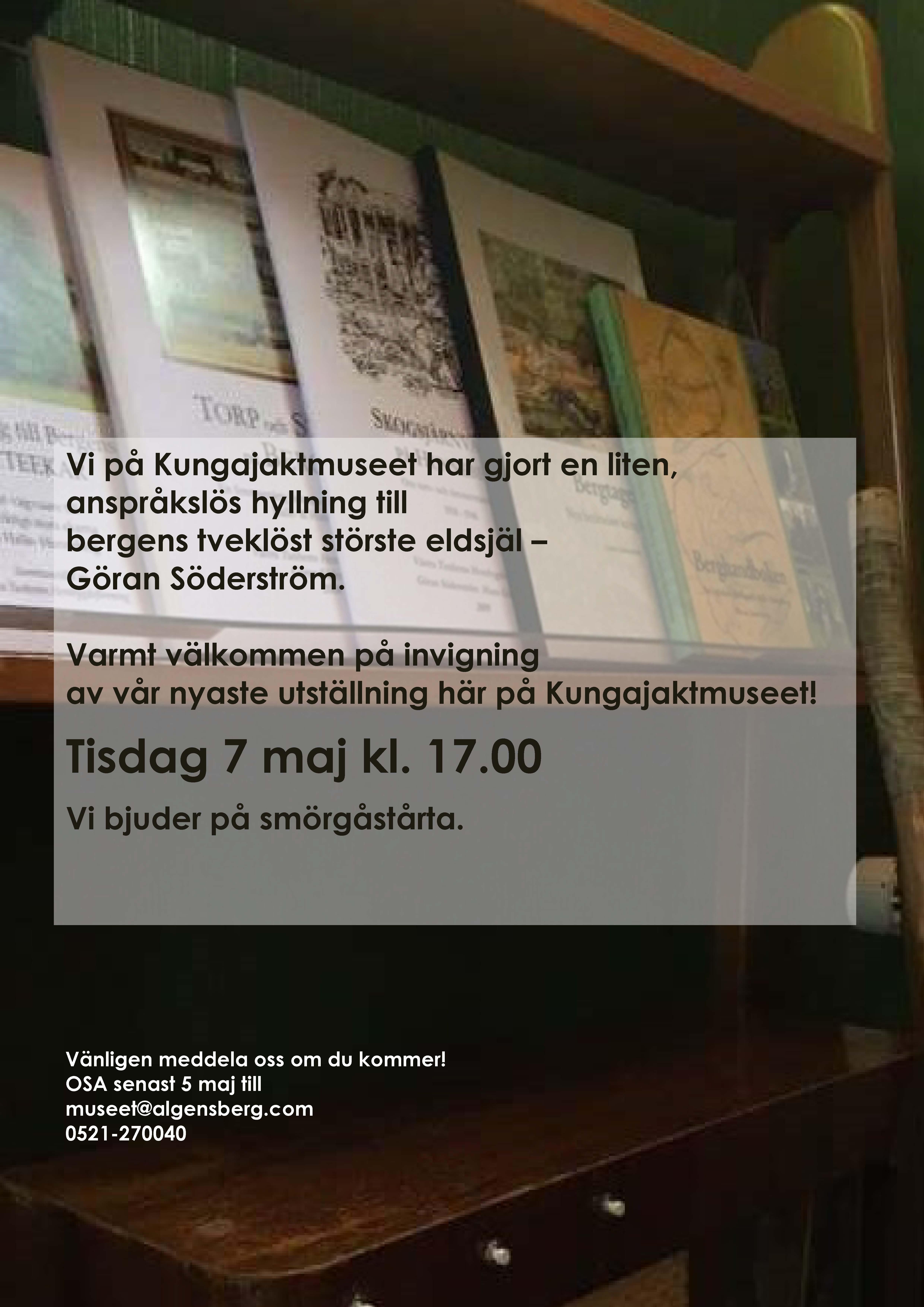 Inbjudan utställning Göran Söderström Kungajaktmuseet Älgens Berg Hunneberg Vänersborg