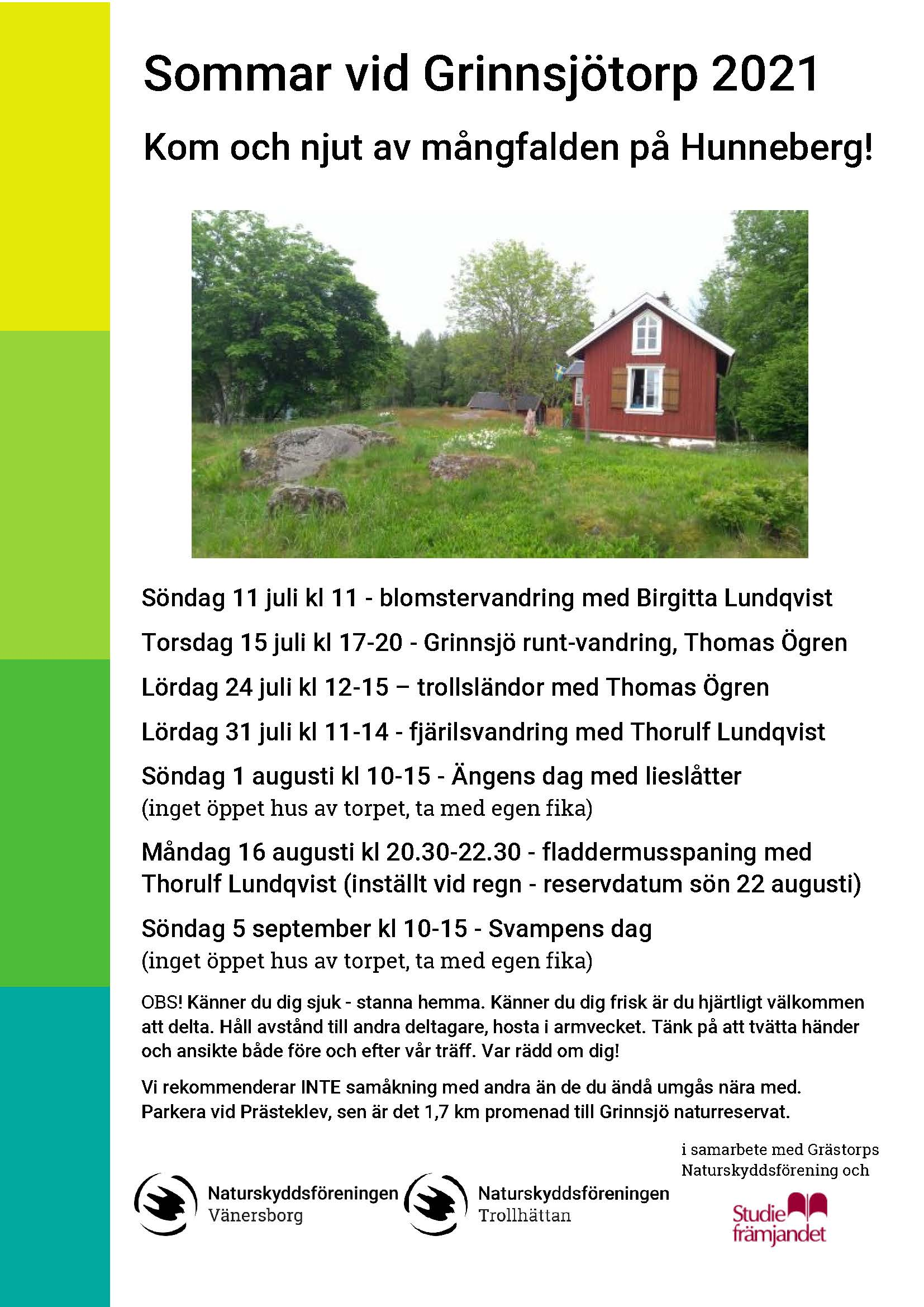 Affisch sommaraktiviteter vid Grinnsjö 2021 Vänersborg Hunneberg